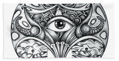 Bath Towel featuring the drawing Vision by Shadia Derbyshire