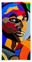 Visionaire, Abstract Male Face Portrait Painting - Illusion Abstract Artwork - Chromatic Bath Towel