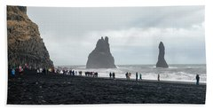 Hand Towel featuring the photograph Visitors In Reynisfjara Black Sand Beach, Iceland by Dubi Roman