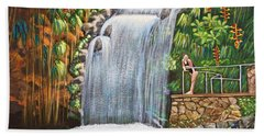 Visitors To The Falls Hand Towel