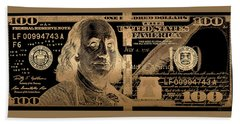 One Hundred Us Dollar Bill - $100 Usd In Gold On Black Bath Towel