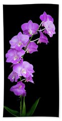 Vivid Purple Orchids Bath Towel