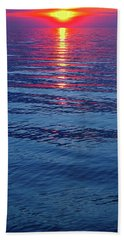 Bath Towel featuring the photograph Vivid Sunset With Emerson Quote - Vertical Format by Ginny Gaura
