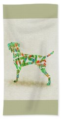 Hand Towel featuring the painting Vizsla Watercolor Painting / Typographic Art by Inspirowl Design