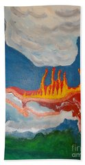 Hand Towel featuring the painting Volcanic Action by Rod Ismay