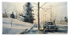 Volkswagen Karmann Ghia On Snowy Road Hand Towel