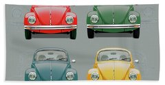 Volkswagen Type 1 - Variety Of Volkswagen Beetle On Vintage Background Bath Towel