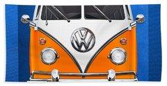 Volkswagen Type - Orange And White Volkswagen T 1 Samba Bus Over Blue Canvas Bath Towel