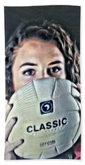 Volleyball Beauty Girl Hand Towel