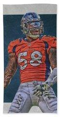 Von Miller Denver Broncos Art 1 Hand Towel