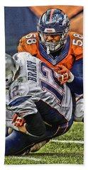 Von Miller Denver Broncos Art Hand Towel