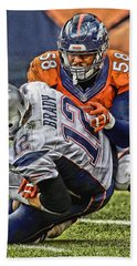 Von Miller Denver Broncos Art Hand Towel by Joe Hamilton