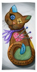 Bath Towel featuring the painting Voodoo Cat Doll - Patchwork Cat by Carrie Hawks