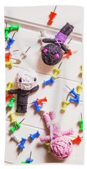 Voodoo Dolls Surrounded By Colorful Thumbtacks Hand Towel