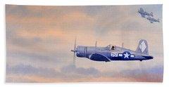 Hand Towel featuring the painting Vought F4u-1d Corsair Aircraft by Bill Holkham
