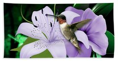 Hand Towel featuring the mixed media Voyage Hummingbird by Marvin Blaine