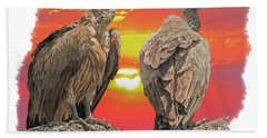 Vultures At Sunset Bath Towel