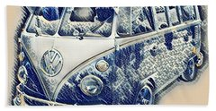 Hand Towel featuring the photograph Vw Camper Van Waves by John Colley