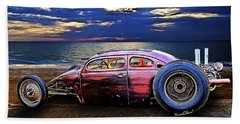 Rat Rod Surf Monster At The Shore Hand Towel