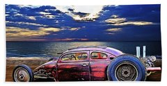 Rat Rod Surf Monster At The Shore Bath Towel