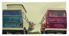 Blue And Red Vw T2 Camper Vans Bath Towel