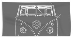 Bath Towel featuring the photograph Vw Van Graphic Artwork Tee White by Edward Fielding