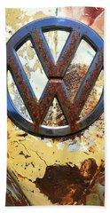 Vw Volkswagen Emblem With Rust Hand Towel