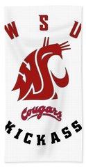 W S U Cougars Kickass Hand Towel by Daniel Hagerman