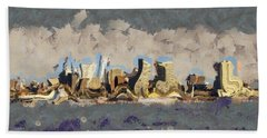 Hand Towel featuring the mixed media Wacky Philly Skyline by Trish Tritz