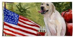 Hand Towel featuring the painting Wag The Flag by Molly Poole