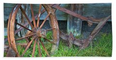 Bath Towel featuring the photograph Wagon Wheel And Fence by David and Carol Kelly