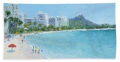 Waikiki Beach Honolulu Hawaii Bath Towel