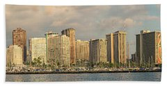 Hand Towel featuring the photograph Waikiki Panorama 1 by Leigh Anne Meeks