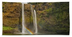 Wailua Falls Rainbow Bath Towel