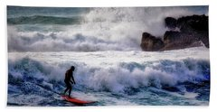 Hand Towel featuring the photograph Waimea Bay Surfer by Jim Albritton