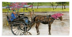 Bath Towel featuring the painting Waiting For Rider Jakarta Indonesia by Melly Terpening