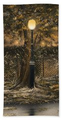 Bath Towel featuring the painting Waiting For The Snow by Veronica Minozzi