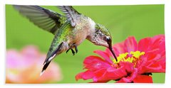 Waiting In The Wings Hummingbird Square Hand Towel
