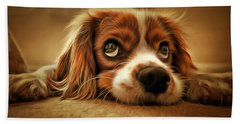 Bath Towel featuring the painting Waiting Pup by Harry Warrick