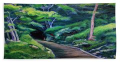 Hand Towel featuring the painting Waiting by Ron Richard Baviello