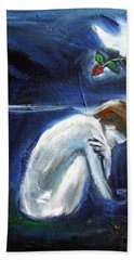 Hand Towel featuring the painting Waiting by Winsome Gunning