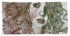 Wake - Autumn - Street Art Woman With Maple Leaves Tattoo Bath Towel