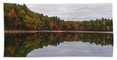 Walden Pond Fall Foliage Concord Ma Reflection Trees Hand Towel