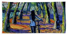 Walk Beneath The Plane Trees Modern Impressionist Palette Knife Painting Bath Towel