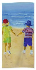 Hand Towel featuring the painting Walk On The Beach by Rodney Campbell