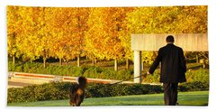 Walkies In Autumn Bath Towel