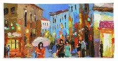 Walking In Old Street, City Scene. Hand Towel
