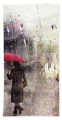 Walking In The Rain Somewhere Hand Towel
