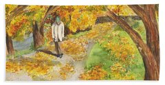 Walking The Truckee River Hand Towel by Vicki  Housel