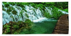 Walking Through Waterfalls - Plitvice Lakes National Park, Croatia Bath Towel